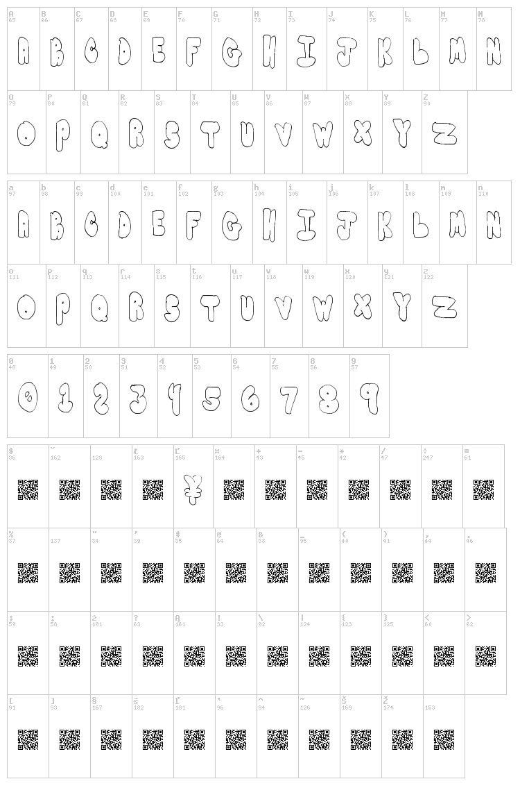 Bubble Yums font map
