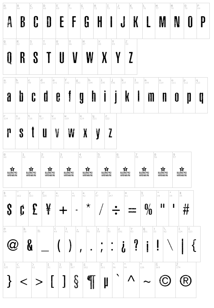 Asphaltic Scratch Rounded font map