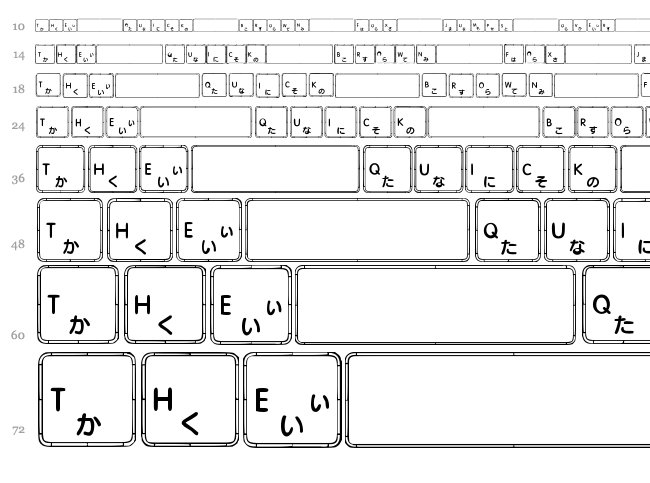 Apple Japanese Keyboard font waterfall