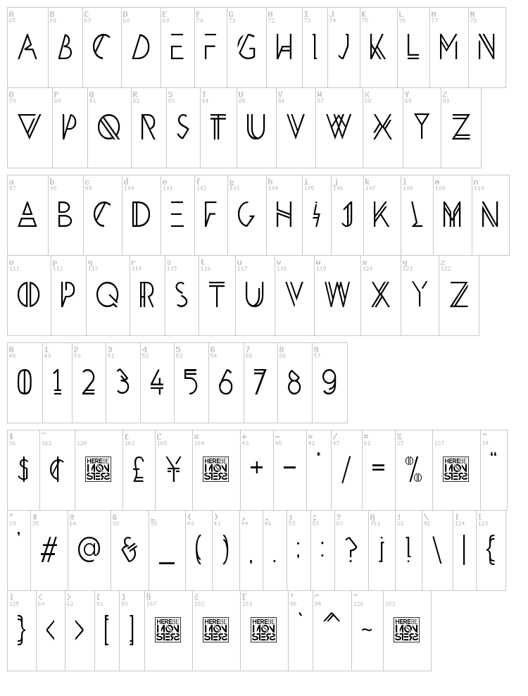 HBM Penultimate font map