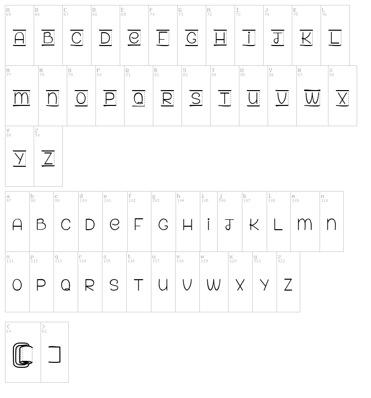 Paper For Your Ass font map