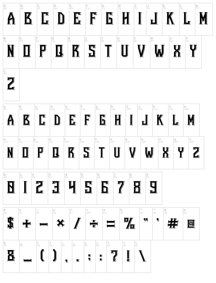 Bearded Lady font map