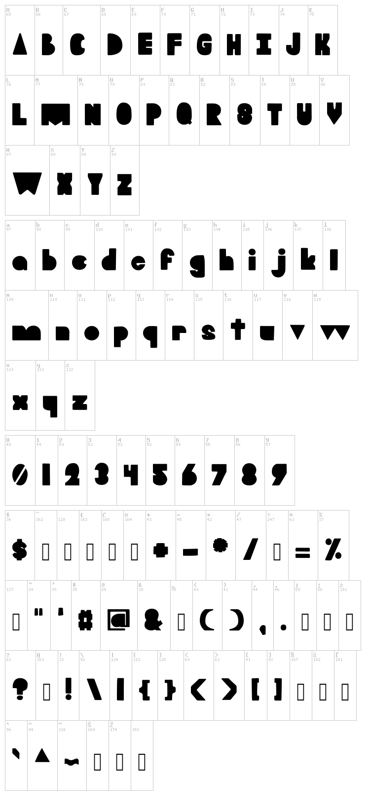 Blooky font map