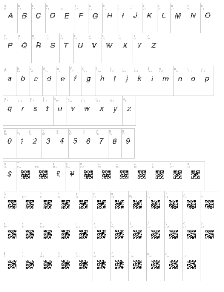 Furious Racing font map