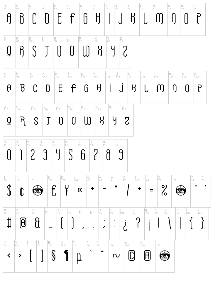 Griefmachine font map
