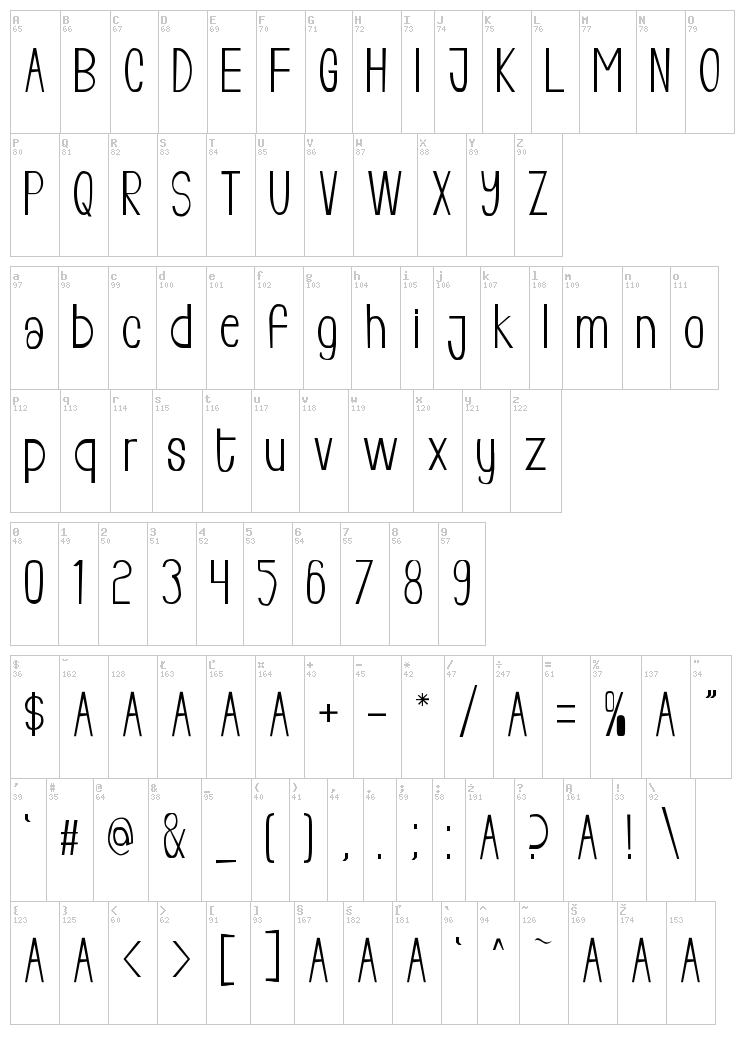 Living Free font map