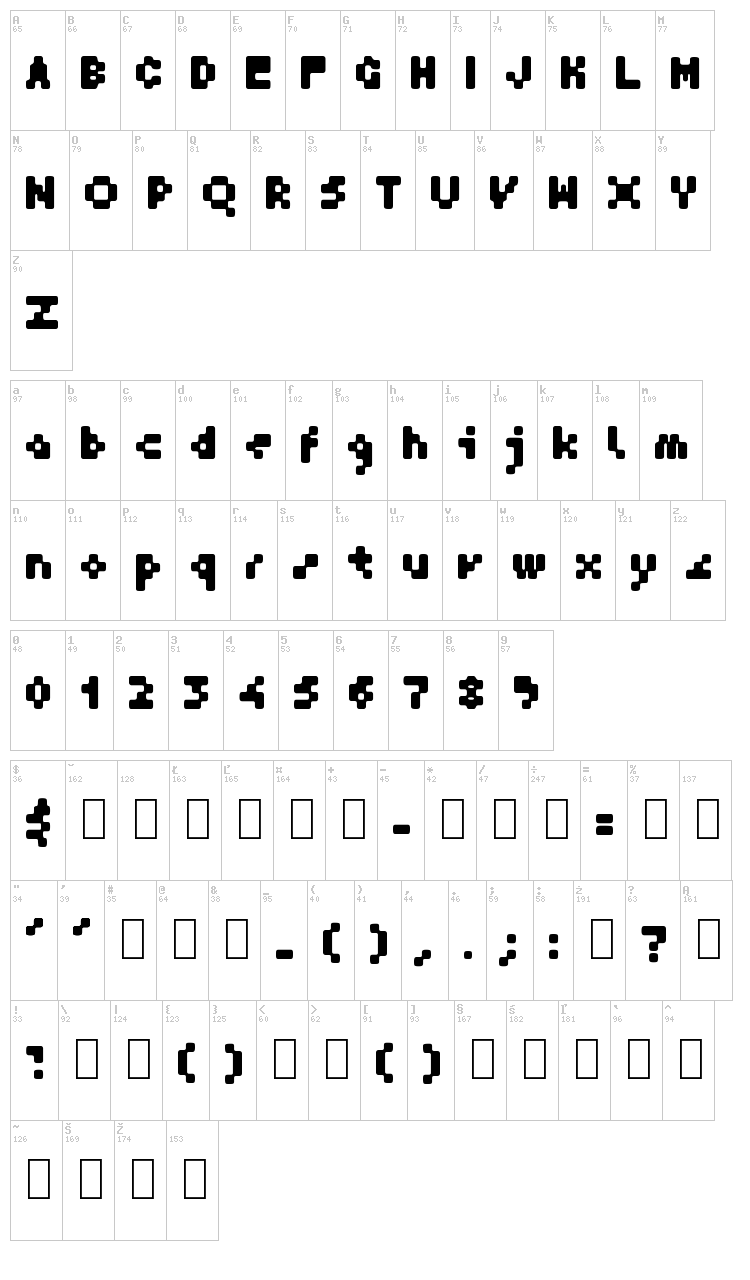 GF Krater font map