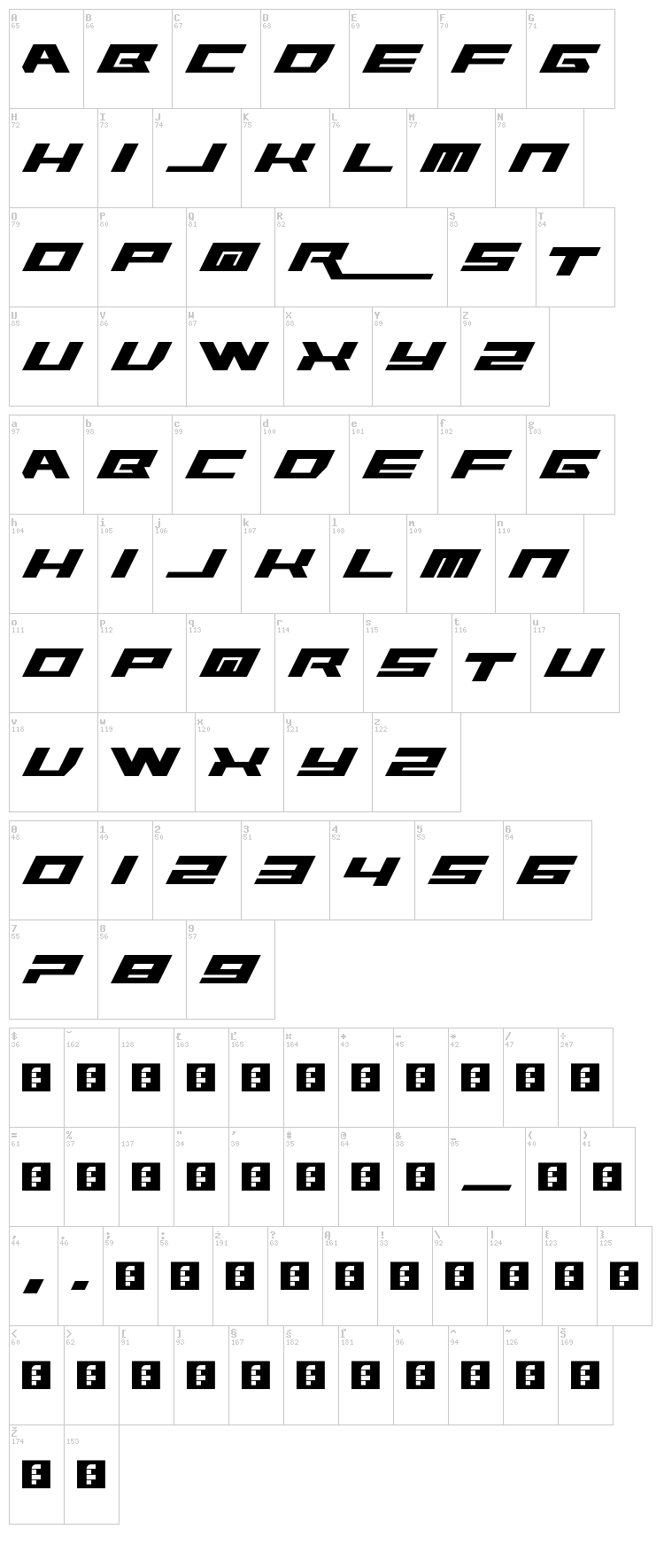 Rawhide Raw 2012 font map