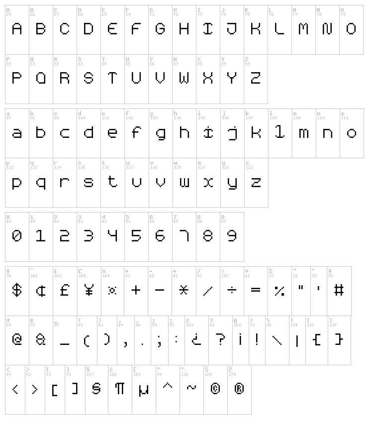Rounded Pixel-7 font map
