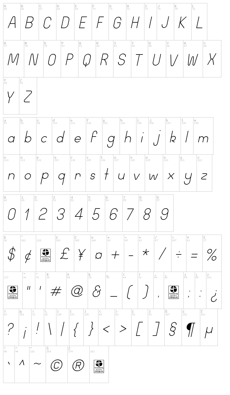 Wida Round font map