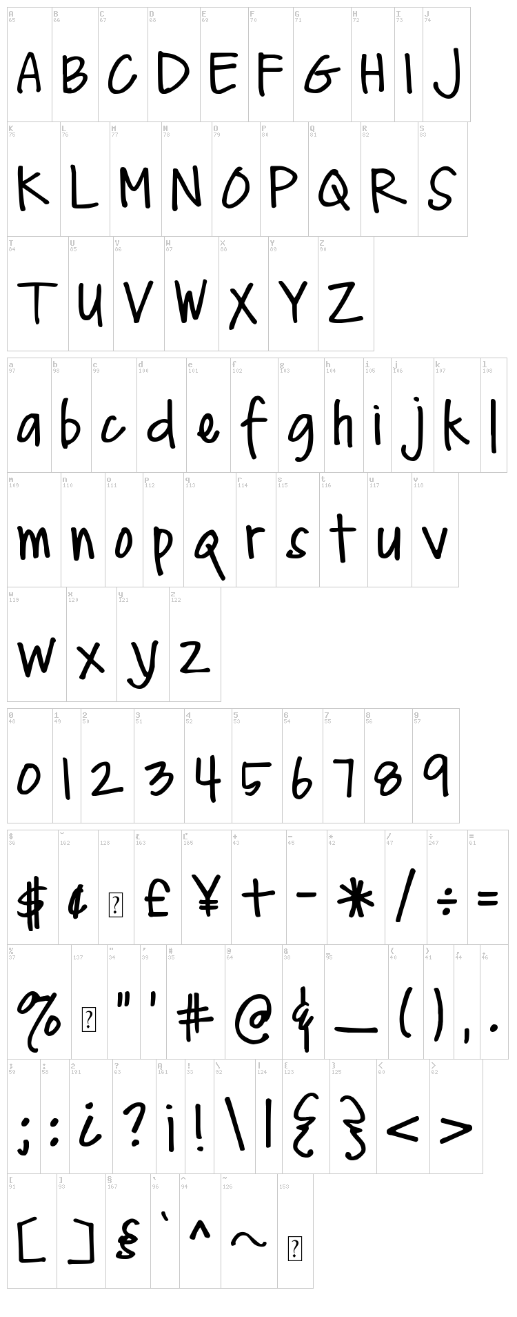 DJB Me and My Shadow font map