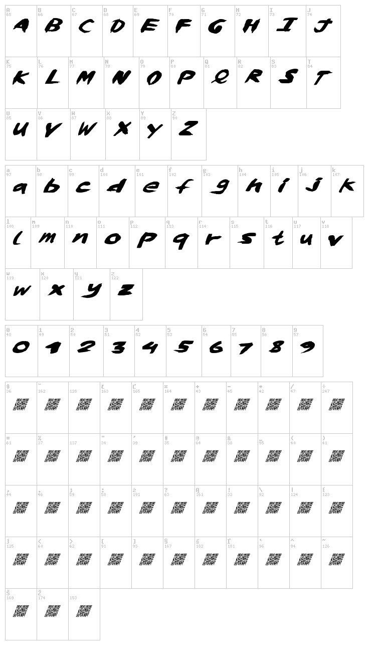 Whisky Lickers font map