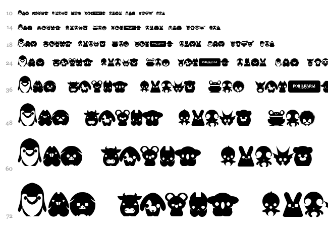 Pixelfarms Pets font waterfall