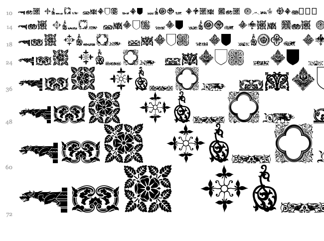 Medieval Dingbats font waterfall