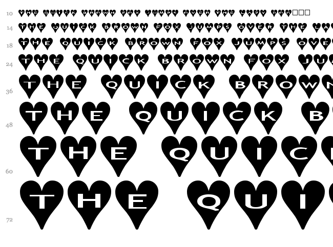 AlphaShapes Hearts font waterfall