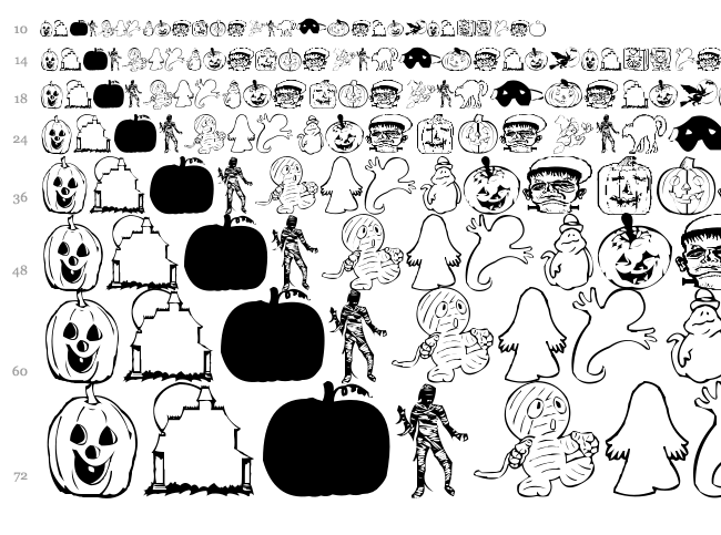 AEZ Halloween Dingbats font waterfall